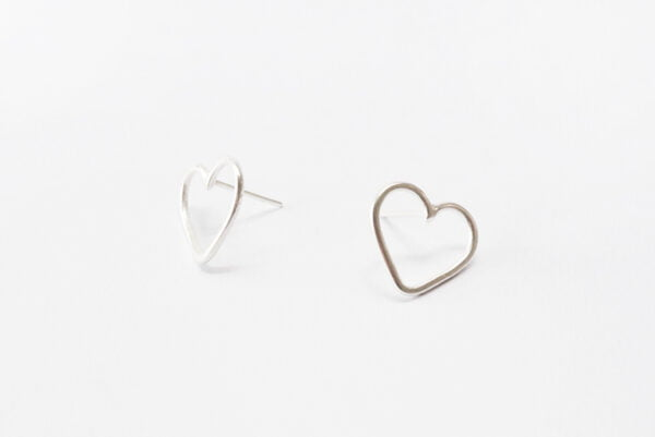 Aros Corazón Frontal medianos de plata 925