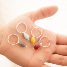 aros cuentas de cristal - varios colores