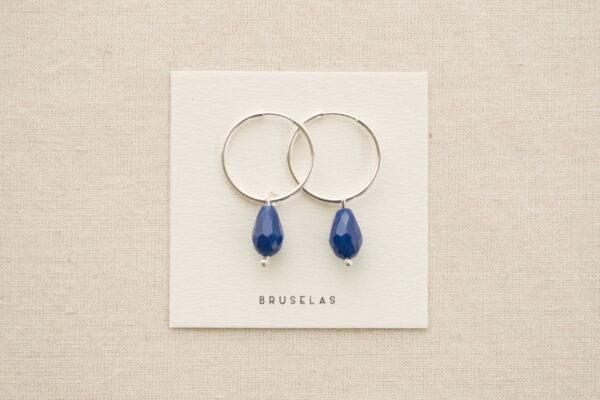 aros cuentas de cristal azul
