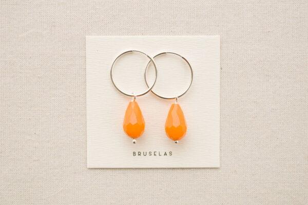 aros cuentas de cristal naranja