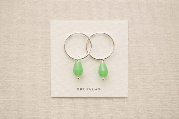 aros cuentas de cristal verde