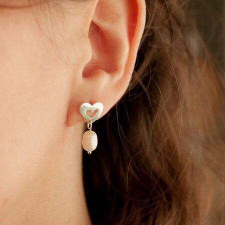 Aros Gilmore Girls. Corazón de plata 925 y perla de río